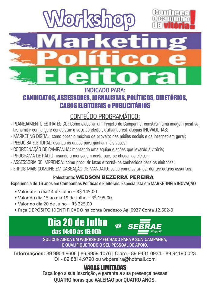 Photo of Workshop de Marketing Politico Eleitoral será realizado em Picos