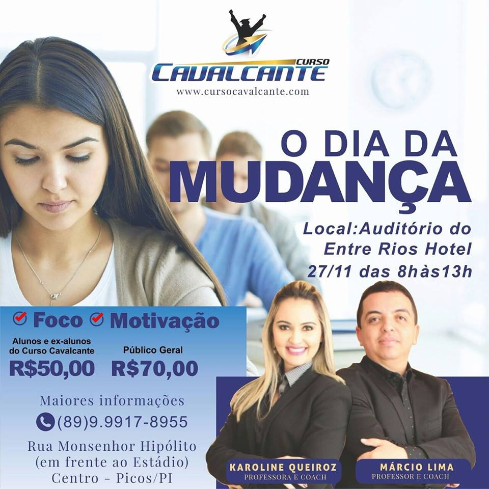 "Photo of Curso Cavalcante irá promover Workshop ""O Dia da Mudança"" domingo, 27"