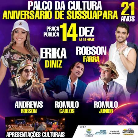 Photo of Palco da Cultura será realizado no aniversário de Sussuapara