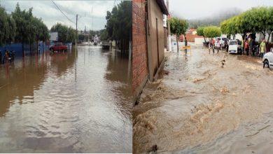 Photo of Forte chuva na cidade de Simões deixa ruas alagadas