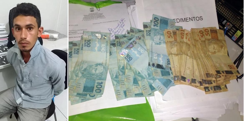 Ele e um comparsa são acusados de terem aplicado um golpe furtando uma quantia em dinheiro no valor de R$ 4.250.