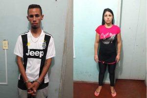 Wesley Frank da Silva (vulgo Paulista) e a esposa do condutor, Luciane de Jesus.