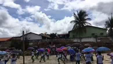 Photo of Pio IX: Alunos protestam com guarda-chuvas pedindo cobertura de quadra exposta a sol e chuva