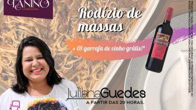 Photo of Quarta-feira é dia de rodízio de massas, vinho grátis e música com Juliana Guedes no Tanino Gastronomia